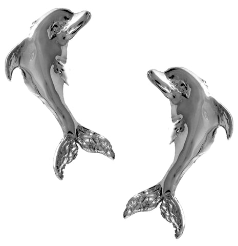 Large Dolphin Rhodium on Silver Non-Pierced Ear Cuff Earrings