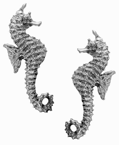 Seahorse Ear Cuff Earring Singles or Pair Non-Pierced Rhodium on Sterling Silver