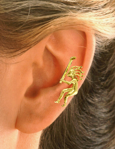Golfing Kokopelli Ear Cuff Earrings Gold on Silver Non-Pierced Unisex