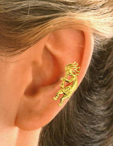 Kokopelli Gold on Silver Ear Cuff Earrings