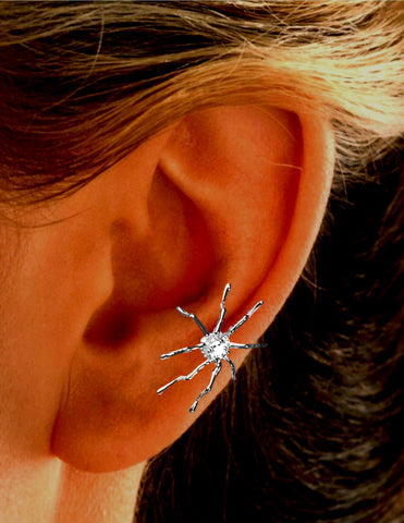 Spider with CZ Earring Cuffs Non-Pierced Rhodium over Sterling Silver