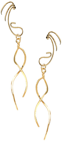 Teardrop Converter w/ Infinity Dangle Gold on Silver Ear Cuff Earrings