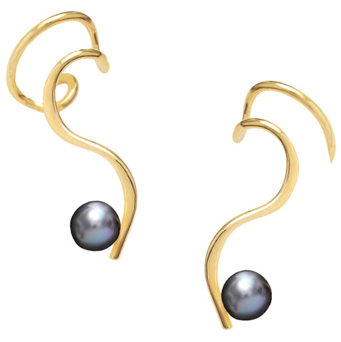 S Curve Ear Cuff Non-pierced Earring 'One-Liner' with Black Cultured Pearl Gold on Sterling Silver