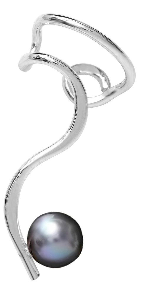 Simple Curve & Black Cultured Pearl Sterling Silver Ear Cuffs Earrings