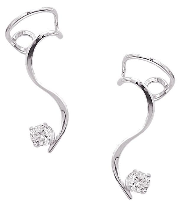 Simple Curve Ear Cuff Earrings with Large CZ Rhodium over Sterling Silver