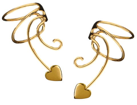 Heart Curly Q Gold Over Sterling Ear Cuff Wrap Earrings