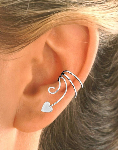 Small Heart Sterling Silver Curly Q Wave Ear Cuff Earring Wraps