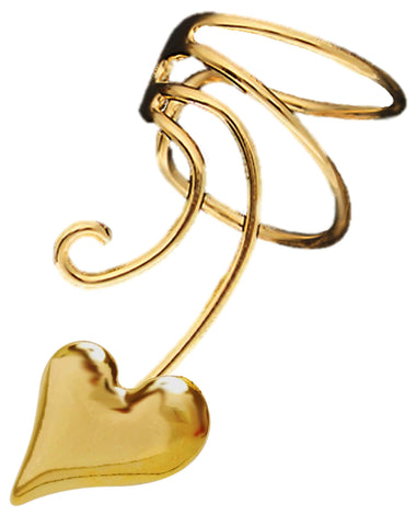 Puff Heart Curly Q Gold Plate Ear Cuffs Earrings