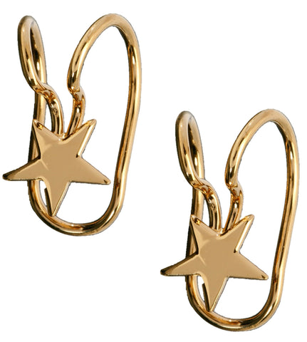Topper Star Top Catrilage Ear Cuff Earring Wraps Gold Over Siterling