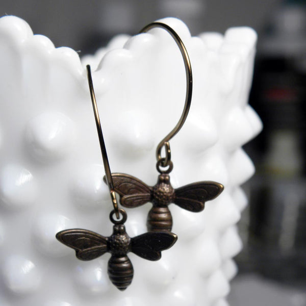 Dainty Honey Bee Earrings | Small Bumble Bee Charm Dangle Earrings