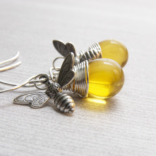 Handmade Silver Bumble Bee Earrings | Wire Wrapped Honey Bee Charm Earrings | Dangle Earrings
