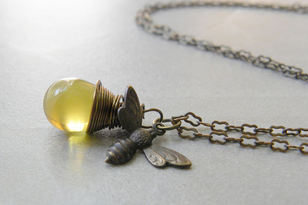 Wire Wrapped Bumble Bee Charm Pendant | Honey Bee Jewelry Necklace