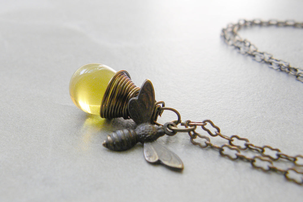 long bee on jewelry handmade leaf and natural sterling pendant lizardi textured silver necklace bumblebee by yellow with stone chain bumble jasper