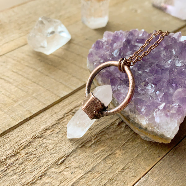 Clear Quartz Copper Electroformed Pendant