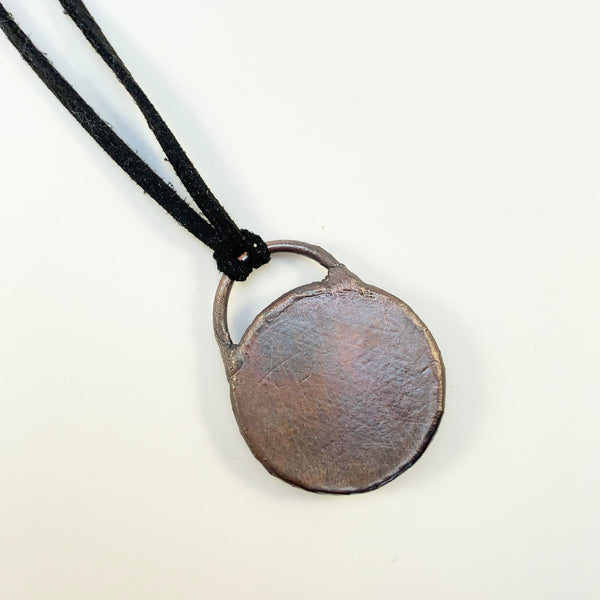Luna Moon Grey Labradorite Copper Electroformed Pendant