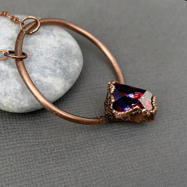 Deep Purple Herkimer Diamond Geometrical Hoop Copper Electroformed pendant