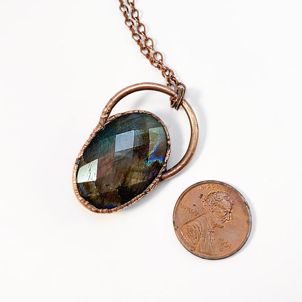Flashy Labradorite Multi Color Diamond Cut Copper Electroformed Pendant
