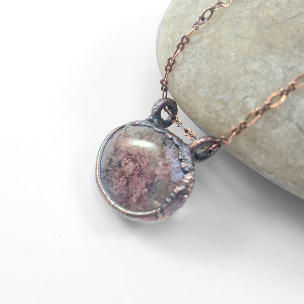 Dusty Pink Lodolite Quartz Copper Electroformed Pendant