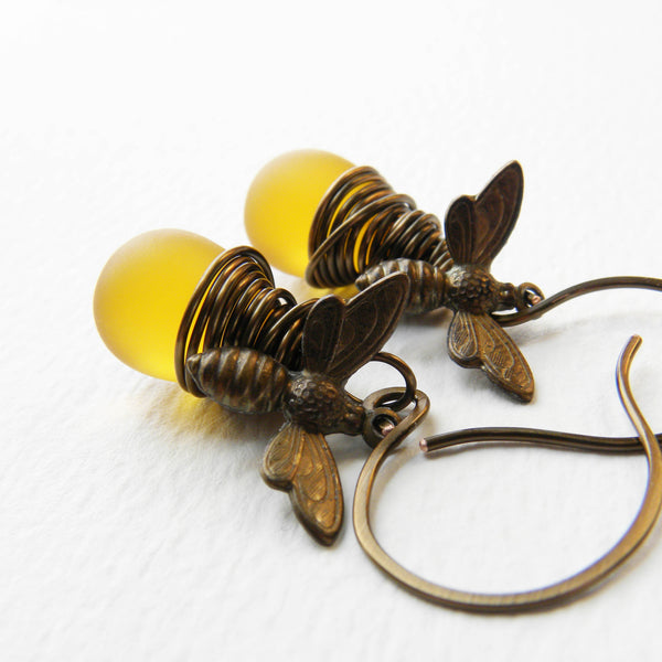 Brass Wire Wrapped Honey Bee Matte Czech Glass Dangle Earrings