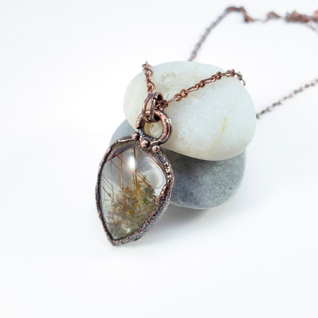 Rutilated Green Lodolite Quartz Copper Electroformed Pendant