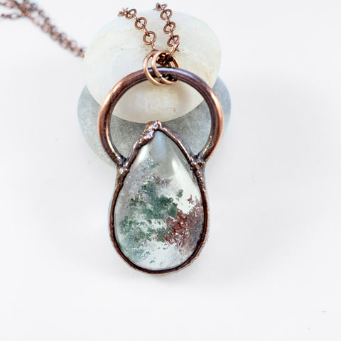 Green and Brown Lodolite Quartz Copper Electroformed Pendant