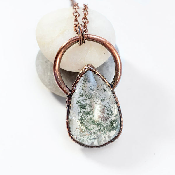 Green Lodolite Quartz Copper Electroformed Pendant