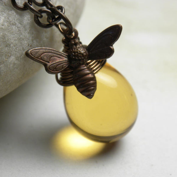 Handcrafted Luminous Honey Bee Necklace | Bumble Bee Pendant Necklace