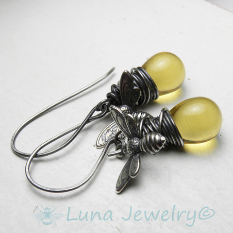 Honey Bee Jewelry | Honey Bee Earrings | Bumble Bee Earrings | Silver Wire Wrapped Dainty Earrings