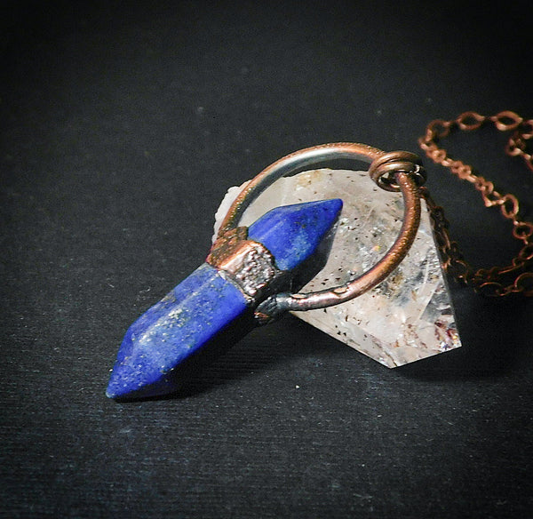 As Seen on TV Lapis Lazuli Point Copper Electroformed Pendant