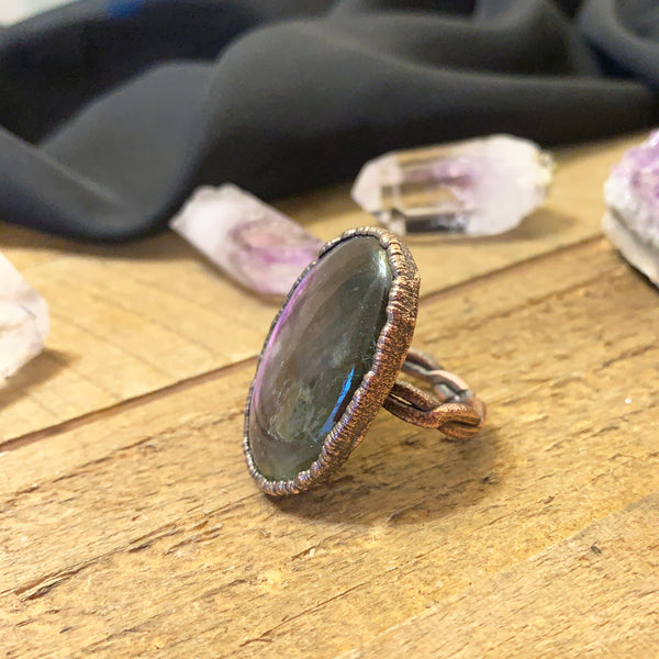Medium Flash Purple Labradorite Copper Electroformed Ring