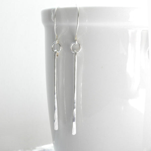 Long Sterling Silver Hammered Stick Dangle Earrings