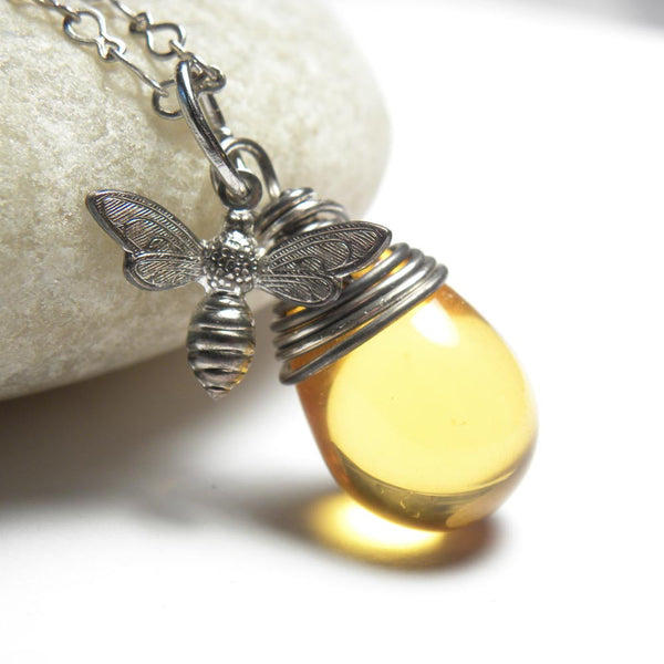 Honey Bee Necklace | Bumble Bee Jewelry Necklace Jewelry | Silver Bee Necklace