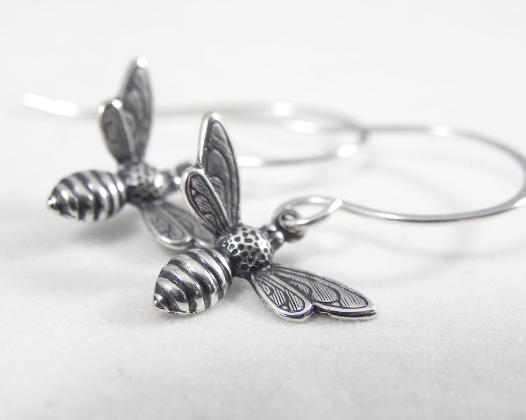 Small Silver Honey Bee Dangle Earrings | Minimalist Bumble Bee Jewelry