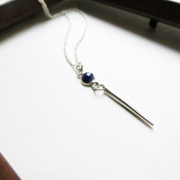 The Vampire Diaries Jewelry | Jo's Sterling Silver Sapphire Dagger Pendant Necklace