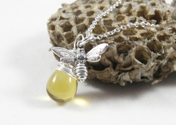Honey Bee Necklace | Sterling Silver Bumble Bee Jewelry | Honey Bee Jewelry | Beekeeper Keepsake