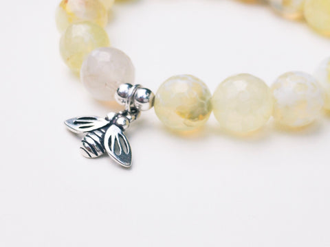 Healing Gemstome Yellow Agate Honey Bee Yoga Bracelet