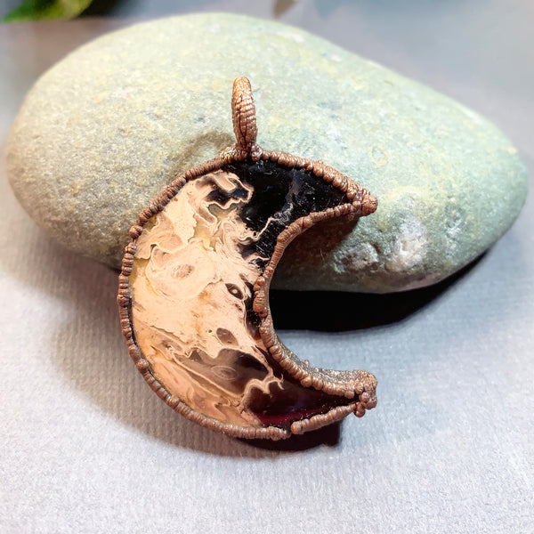 Copper Electroformed Fossilized Palm Root Pendant Necklace
