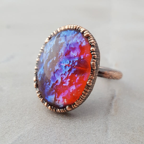 Copper Electroformed Mexican Opal Statement Ring
