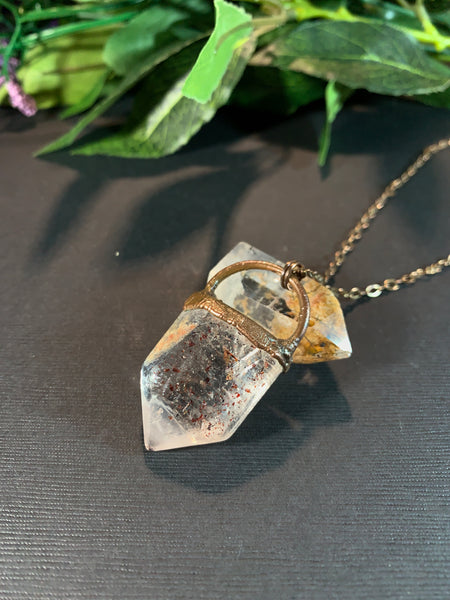 Large Hematite Included Quartz Copper Electroformed Pendant