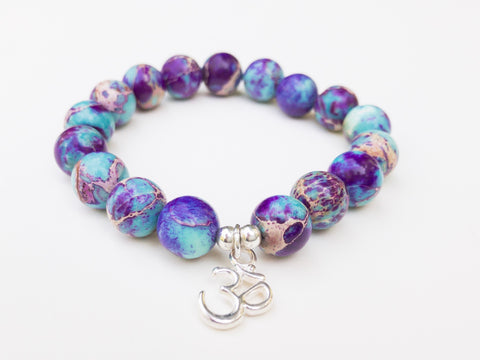 Healing Gemstone Galaxy Sea Sediment Jasper Yoga Bracelet