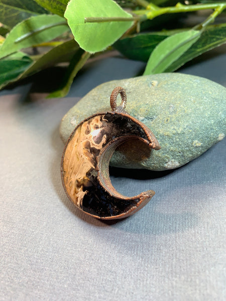 Extra Large Copper Electroformed Fossilized Palm Root Pendant Necklace