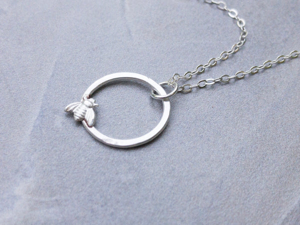 Fine Silver Tiny Honey Bee Infinity Circle Necklace