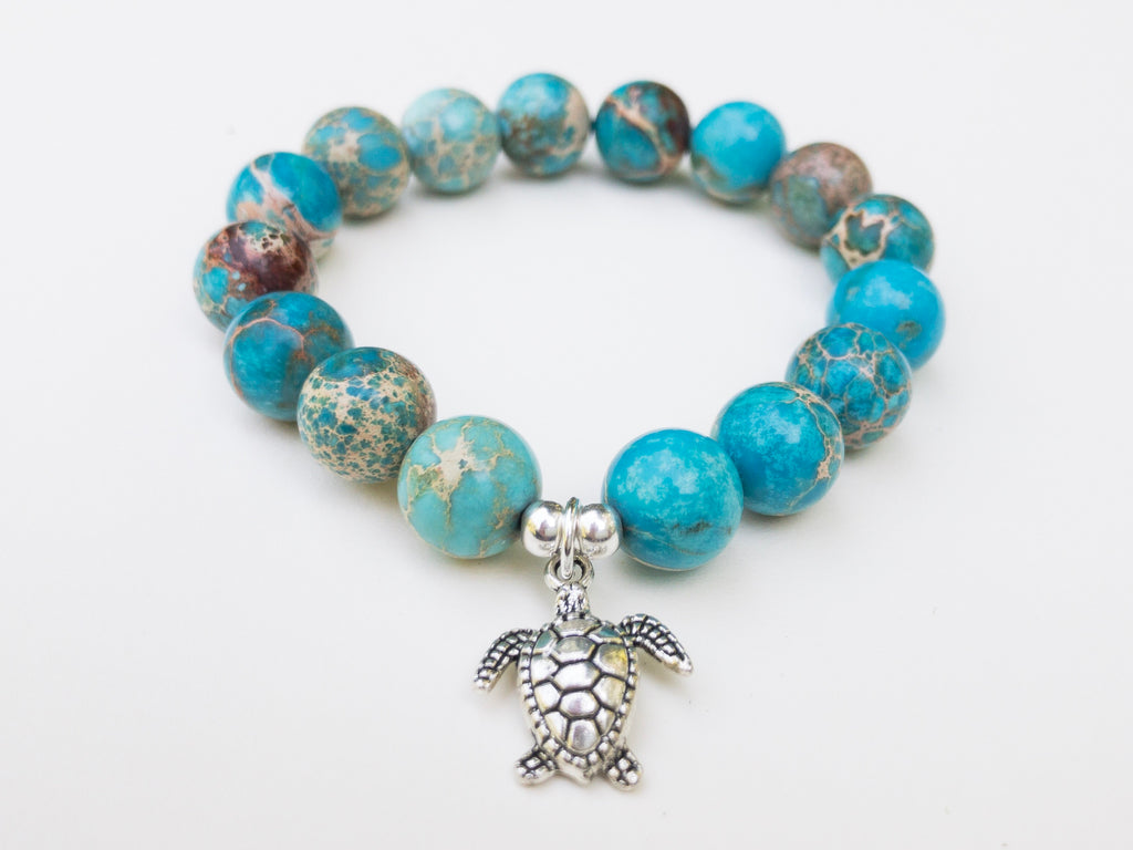 Healing Gemstone Blue Sea Sediment Jasper Yoga Bracelet