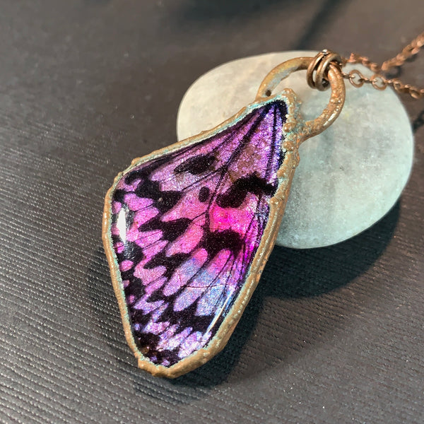 Purple and pink copper electroformed polymer clay butterfly wing pendant