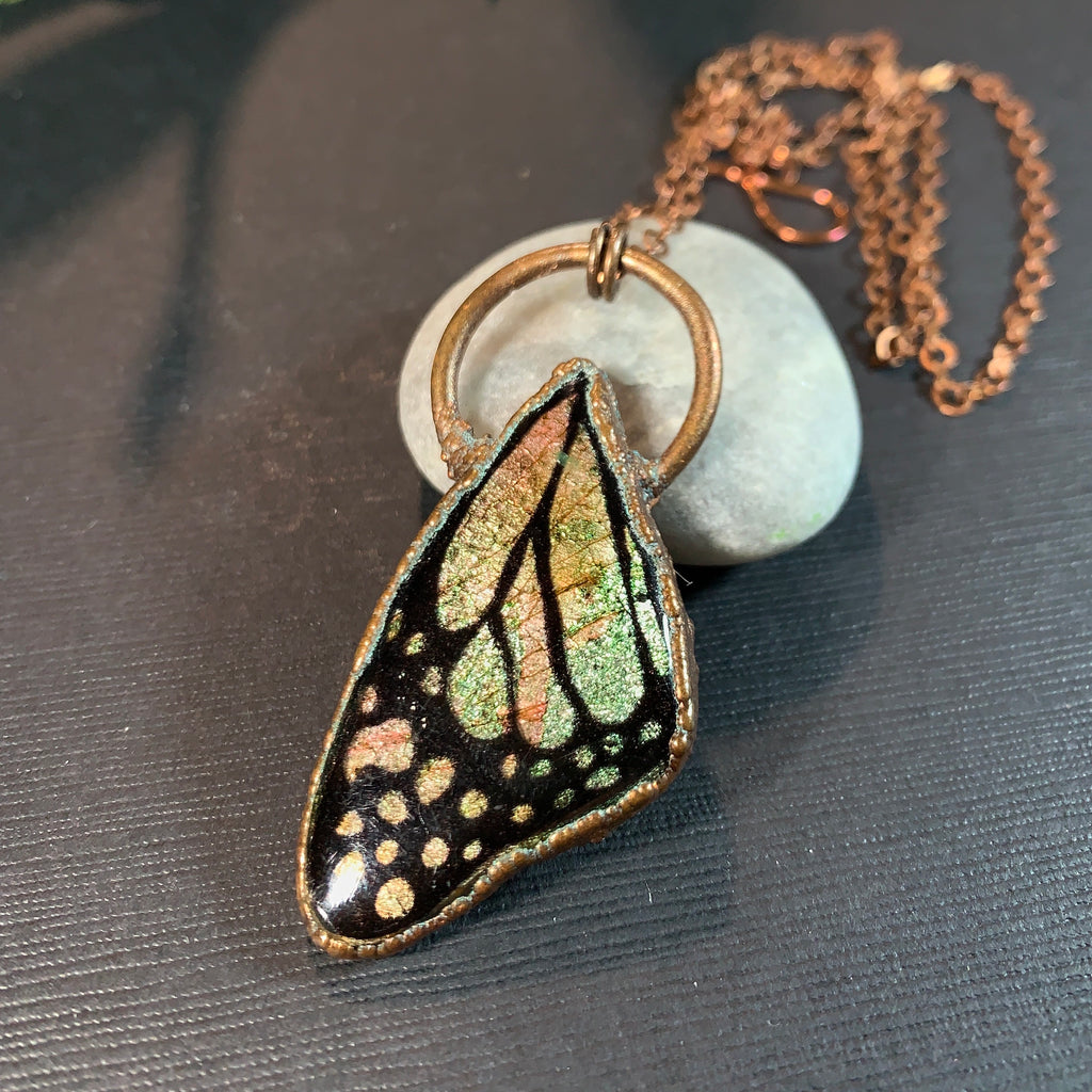 Copper Eletroformed Polymer Clay Butterfly Wing Pendant