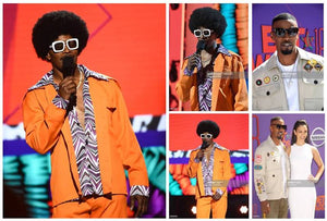 Check out the below photos of Jamie Foxx dazzling the red carpet while wearing The Clique and giving the crowd some disco fever during his performance wearing The Karl at last night's BET Awards!