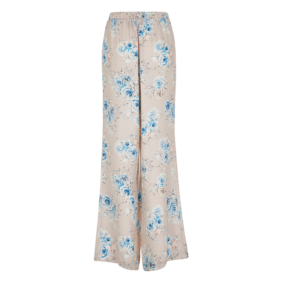 Palazzo Pants in Pink Floral Silk
