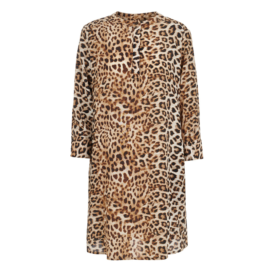 Silk Shirt Dress in Leopard