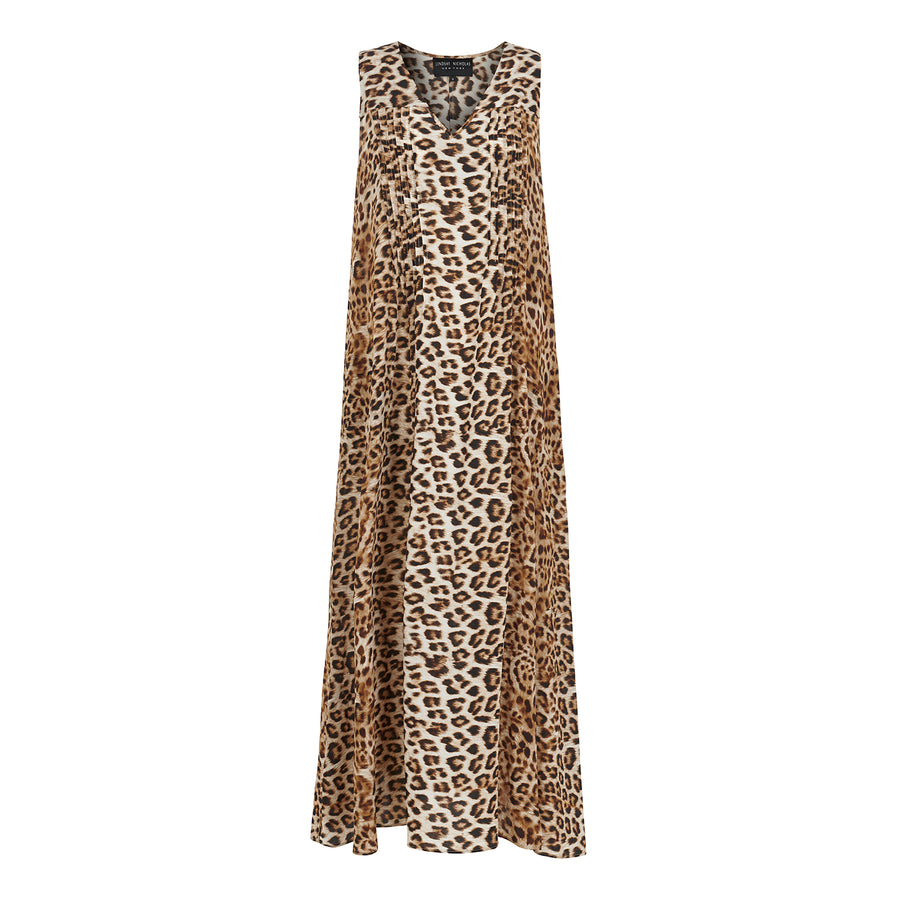 Maxi Dress in Leopard Silk