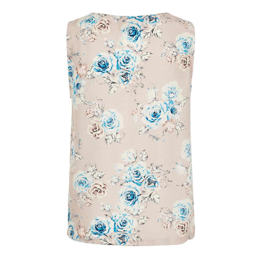 Sleeveless Shell in Pink Floral Silk